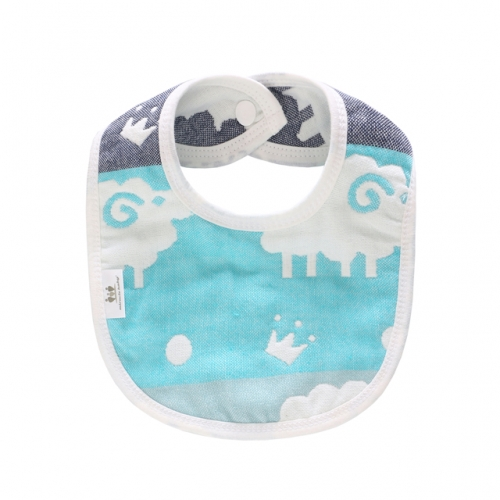 Baby Bibs 6 Layer Burp Cloth with Printed Design,Feeding Drooling Teething Bibs with Snap(10.8''x7.8'')
