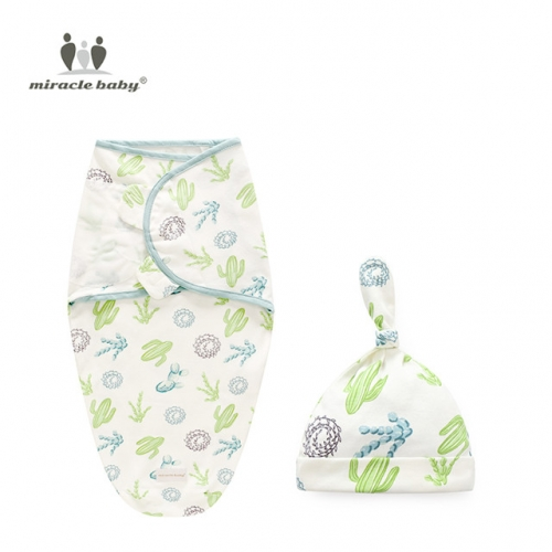 Infant Swaddle Blanket and Hat Set,Baby Swaddle Wrap Adjustable ,Receiving Blankets for 0-6 Months