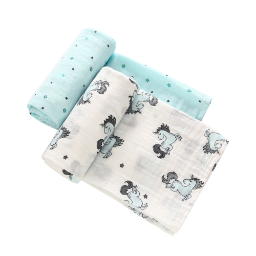 Baby Unicorn Muslin Blankets 2 Pack,  100% Cotton Swaddle ,Toddler Infant Quilt  47''x 47''